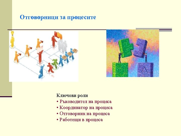Отговорници за процесите Ключови роли • Ръководител на процеса • Координатор на процеса •