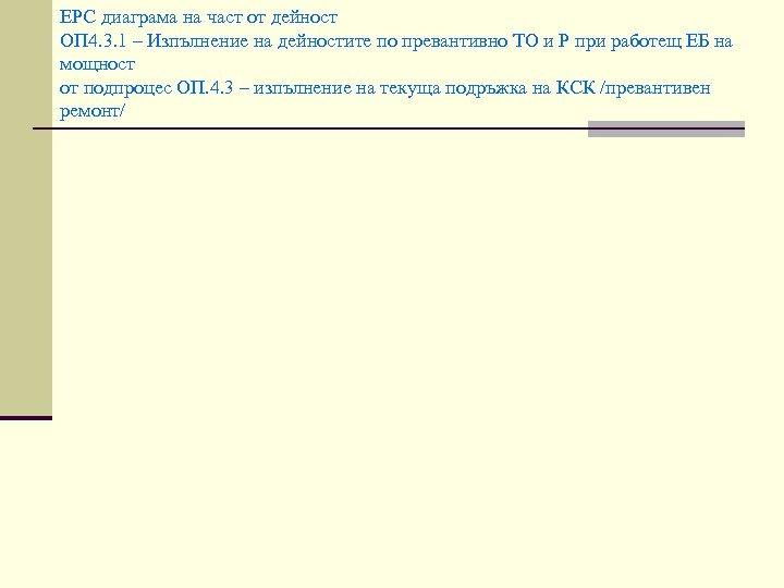 EPC диаграма на част от дейност ОП 4. 3. 1 – Изпълнение на дейностите