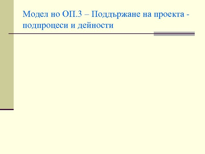 Модел но ОП. 3 – Поддържане на проекта подпроцеси и дейности