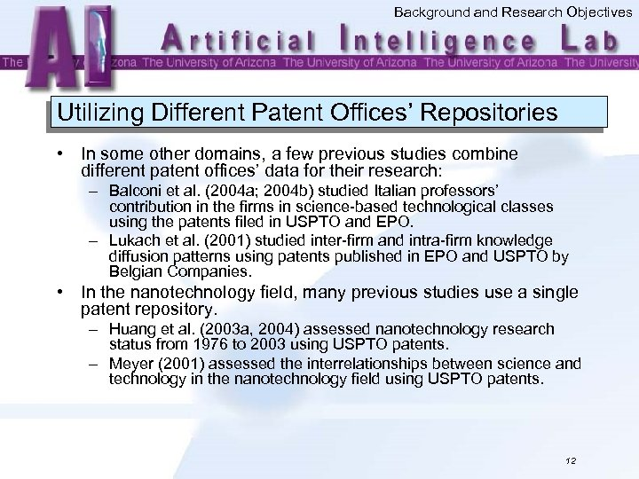 Background and Research Objectives Utilizing Different Patent Offices' Repositories • In some other domains,