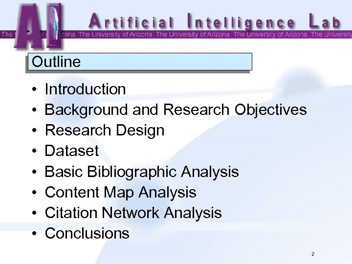 Outline • • Introduction Background and Research Objectives Research Design Dataset Basic Bibliographic Analysis