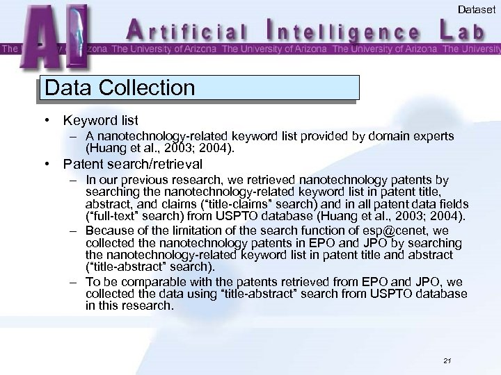 Dataset Data Collection • Keyword list – A nanotechnology-related keyword list provided by domain