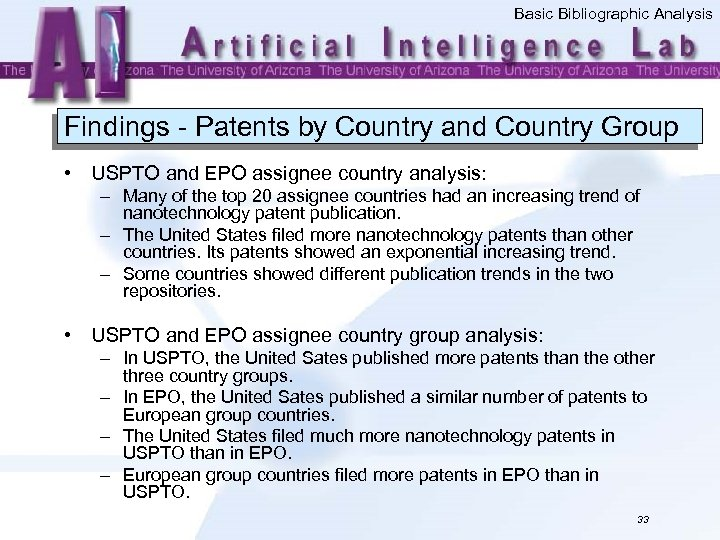 Basic Bibliographic Analysis Findings - Patents by Country and Country Group • USPTO and