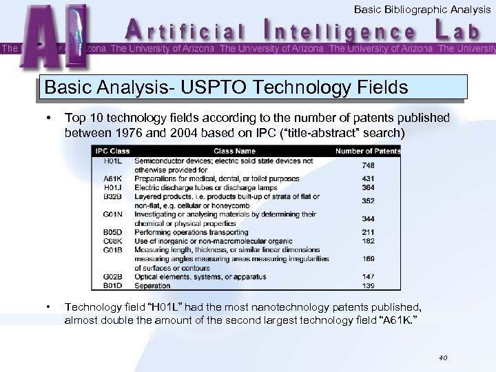 Basic Bibliographic Analysis Basic Analysis- USPTO Technology Fields • Top 10 technology fields according