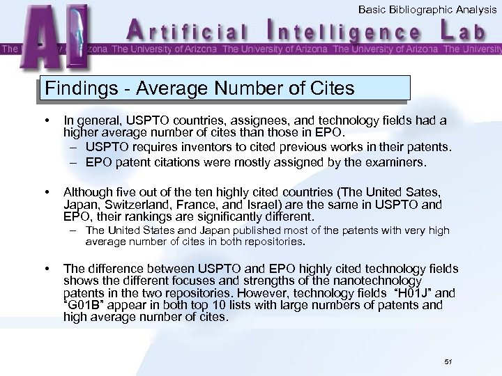 Basic Bibliographic Analysis Findings - Average Number of Cites • In general, USPTO countries,