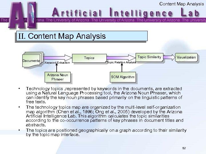 Content Map Analysis II. Content Map Analysis Documents Keyword Extraction Arizona Noun Phraser •