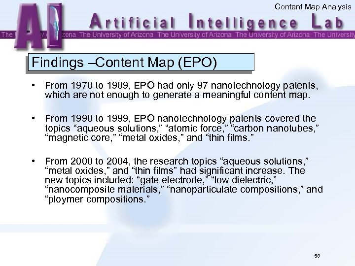 Content Map Analysis Findings –Content Map (EPO) • From 1978 to 1989, EPO had