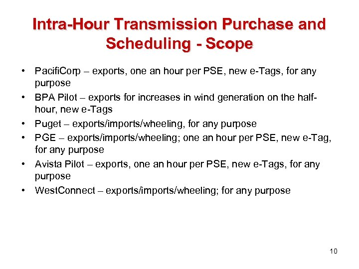 Intra-Hour Transmission Purchase and Scheduling - Scope • Pacifi. Corp – exports, one an