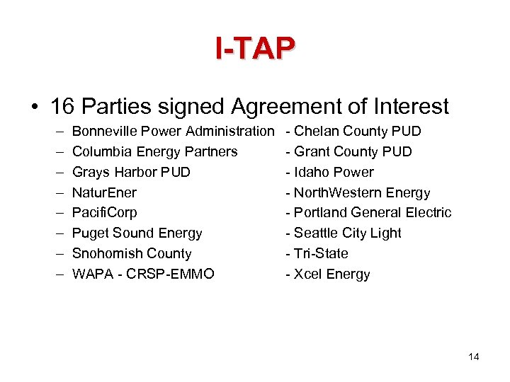 I-TAP • 16 Parties signed Agreement of Interest – – – – Bonneville Power