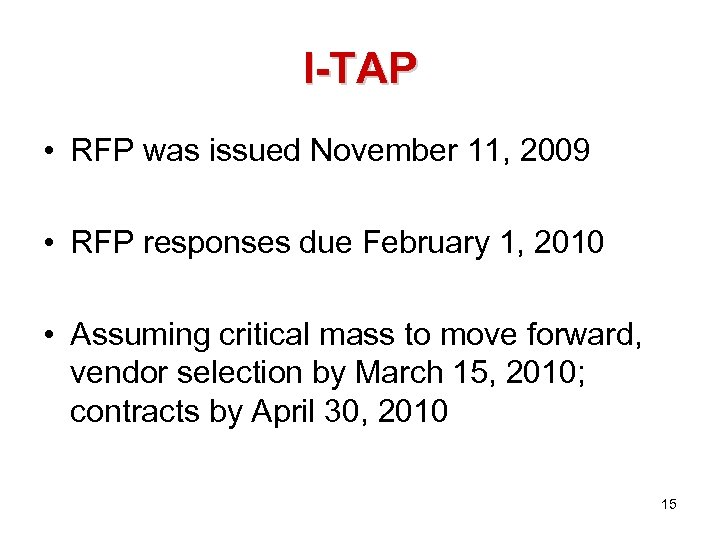 I-TAP • RFP was issued November 11, 2009 • RFP responses due February 1,