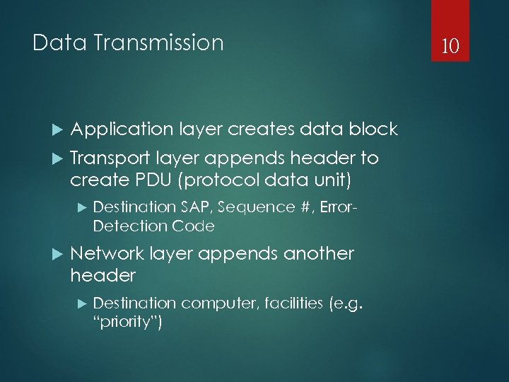 Data Transmission Application layer creates data block Transport layer appends header to create PDU