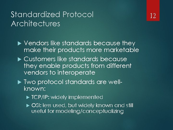Standardized Protocol Architectures Vendors like standards because they make their products more marketable Customers