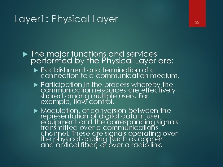 Layer 1: Physical Layer The major functions and services performed by the Physical Layer