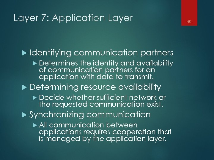 Layer 7: Application Layer Identifying communication partners Determines the identity and availability of communication