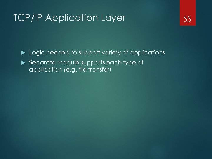 TCP/IP Application Layer Logic needed to support variety of applications Separate module supports each