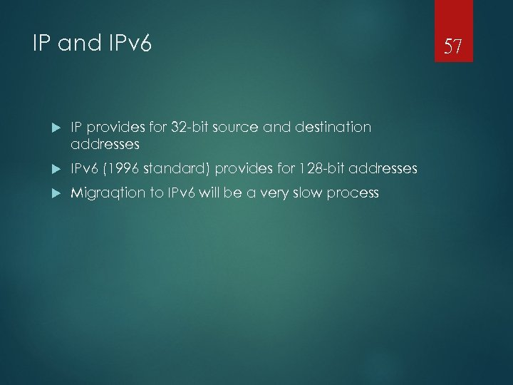 IP and IPv 6 IP provides for 32 -bit source and destination addresses IPv