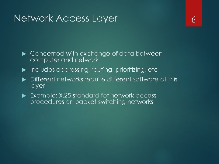 Network Access Layer Concerned with exchange of data between computer and network Includes addressing,
