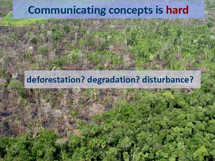 Communicating concepts is hard We're bad at representing meaning deforestation? degradation? disturbance? degradation
