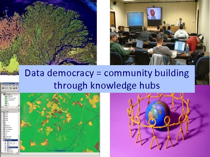 Data democracy = community building through knowledge hubs