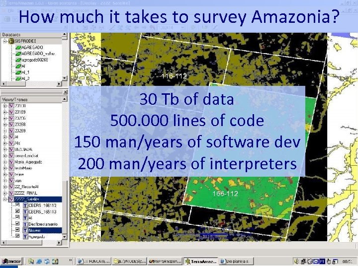 How much it takes to survey Amazonia? 116 -112 30 Tb of data 500.