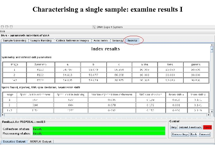 Characterising a single sample: examine results I