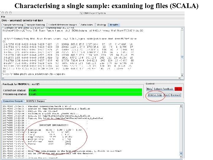 Characterising a single sample: examining log files (SCALA)