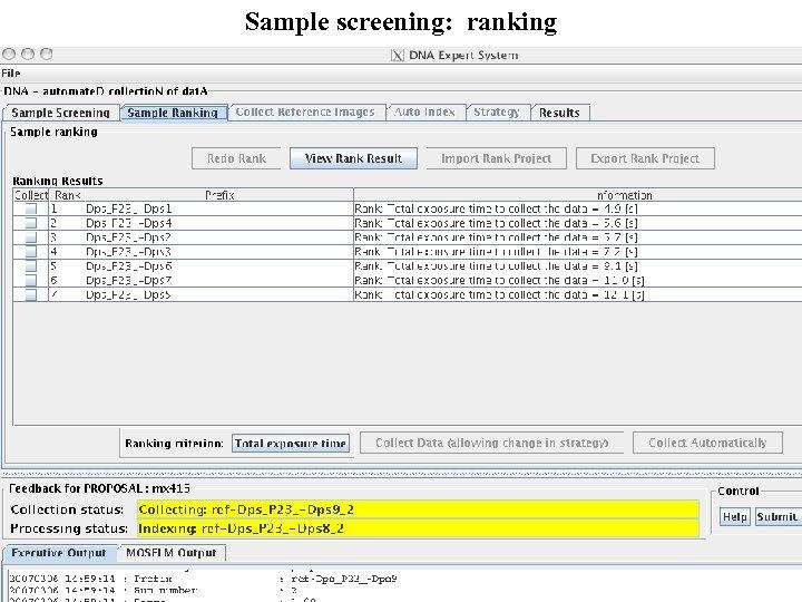 Sample screening: ranking
