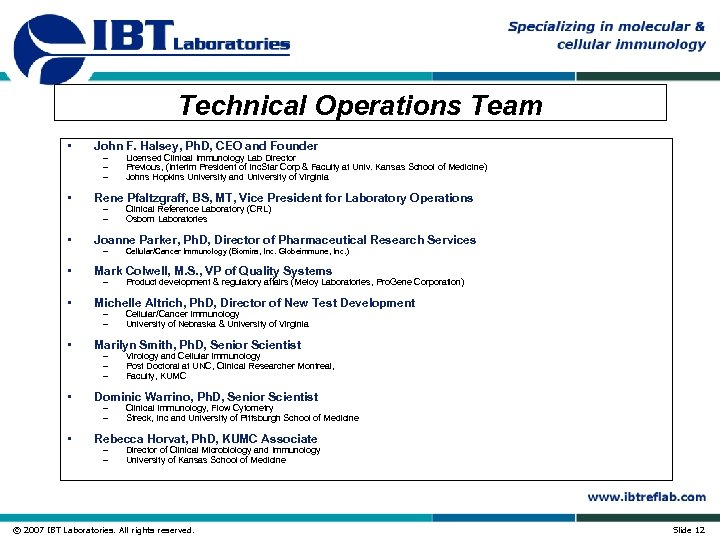 Technical Operations Team • John F. Halsey, Ph. D, CEO and Founder • Rene