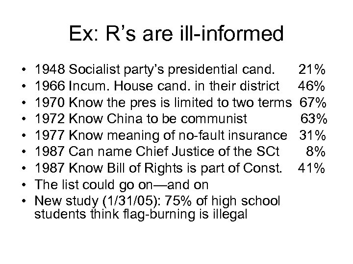 Ex: R's are ill-informed • • • 1948 Socialist party's presidential cand. 1966 Incum.