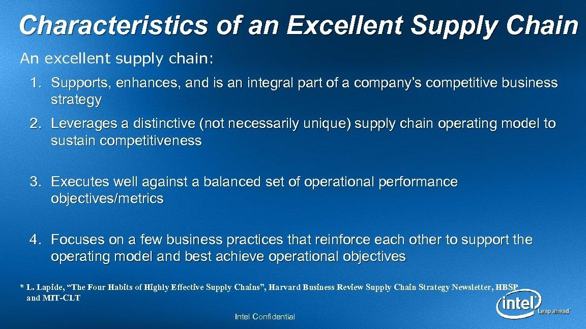 The Intel Supply Chain Challenge Jim Kellso Senior