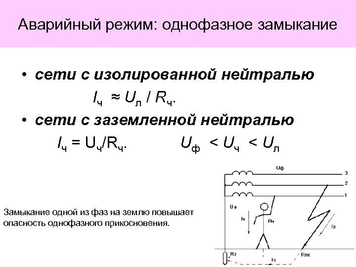 Аварийный режим: однофазное замыкание • сети с изолированной нейтралью I ч ≈ Uл /