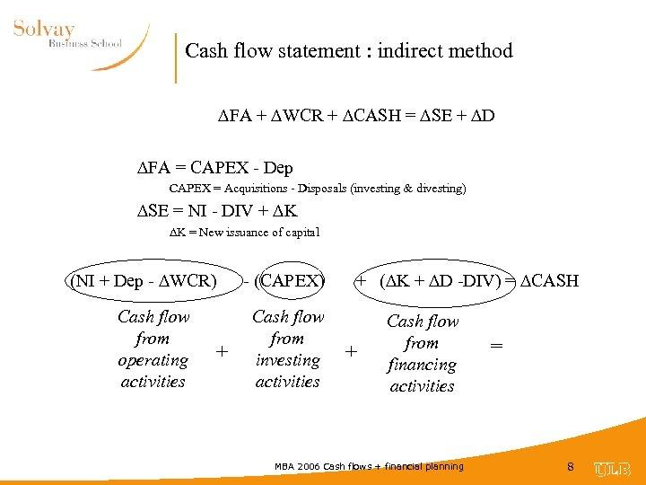 Cash flow statement : indirect method FA + WCR + CASH = SE +