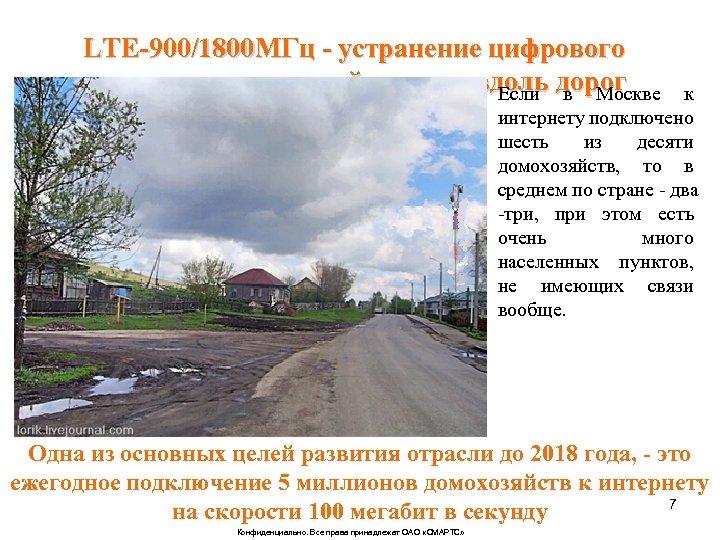LTE-900/1800 МГц - устранение цифрового неравенства в каждой деревне вдоль дорог Если в Москве