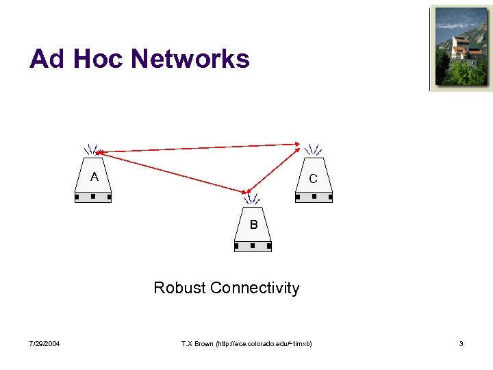 Ad Hoc Networks A C B Robust Connectivity 7/29/2004 T. X Brown (http: //ece.