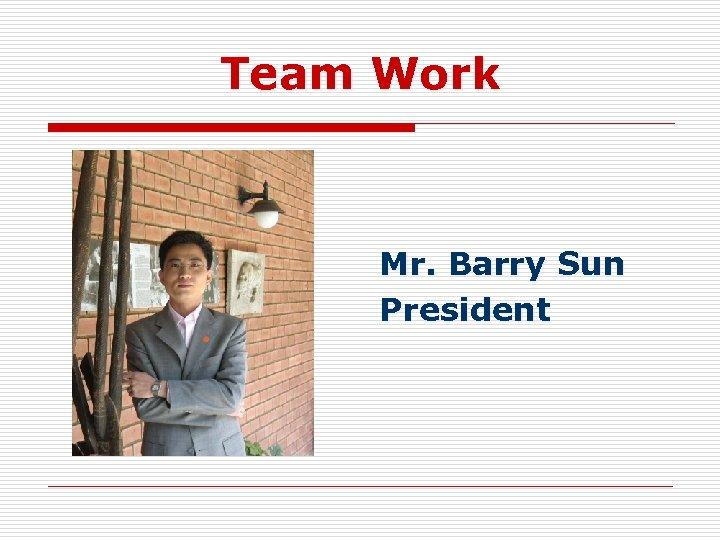 Team Work Mr. Barry Sun President