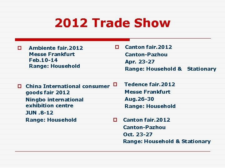 2012 Trade Show p Ambiente fair. 2012 Messe Frankfurt Feb. 10 -14 Range: Household