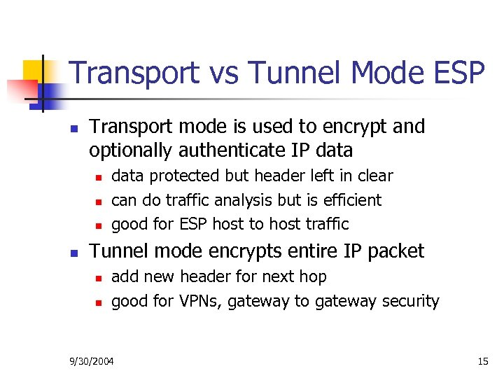Transport vs Tunnel Mode ESP n Transport mode is used to encrypt and optionally