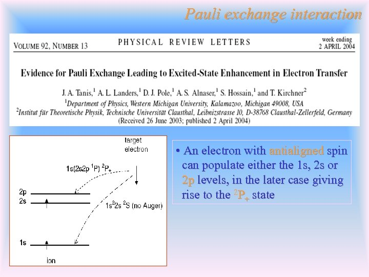 Pauli exchange interaction • An electron with antialigned spin can populate either the 1