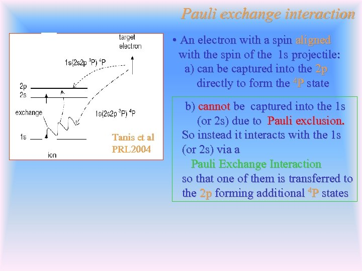 Pauli exchange interaction • An electron with a spin aligned with the spin of