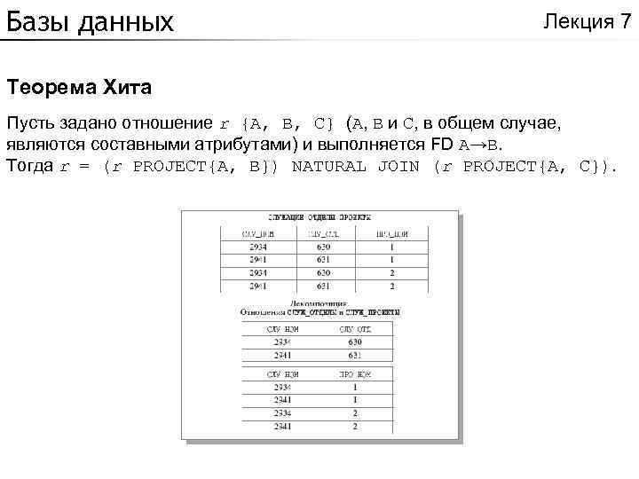 Базы данных Лекция 7 Теорема Хита Пусть задано отношение r {A, B, C} (A,