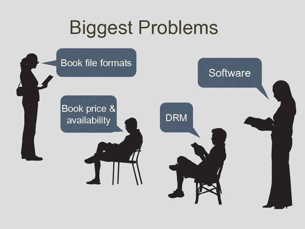 Biggest Problems Book file formats Book price & availability Software DRM