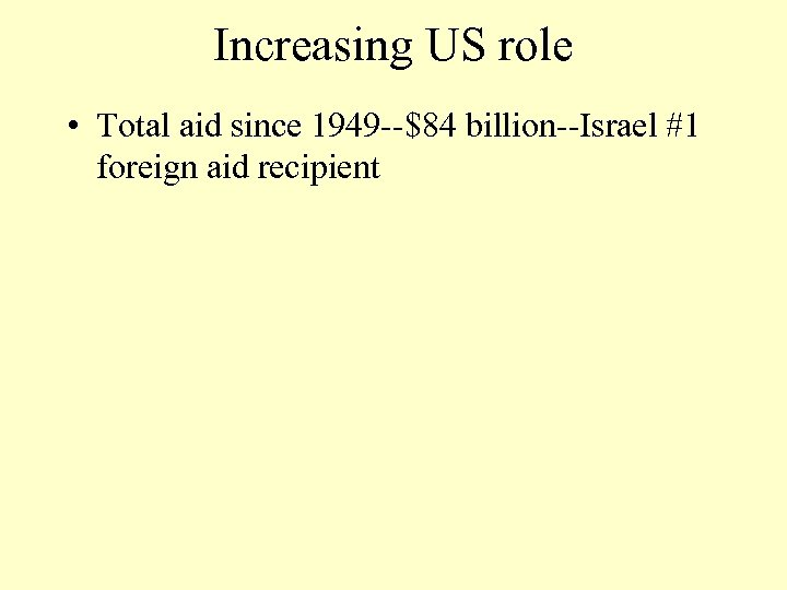 Increasing US role • Total aid since 1949 --$84 billion--Israel #1 foreign aid recipient