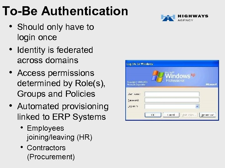 To-Be Authentication • Should only have to • • • login once Identity is