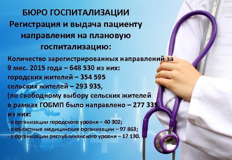 БЮРО ГОСПИТАЛИЗАЦИИ Регистрация и выдача пациенту направления на плановую госпитализацию: Количество зарегистрированных направлений за