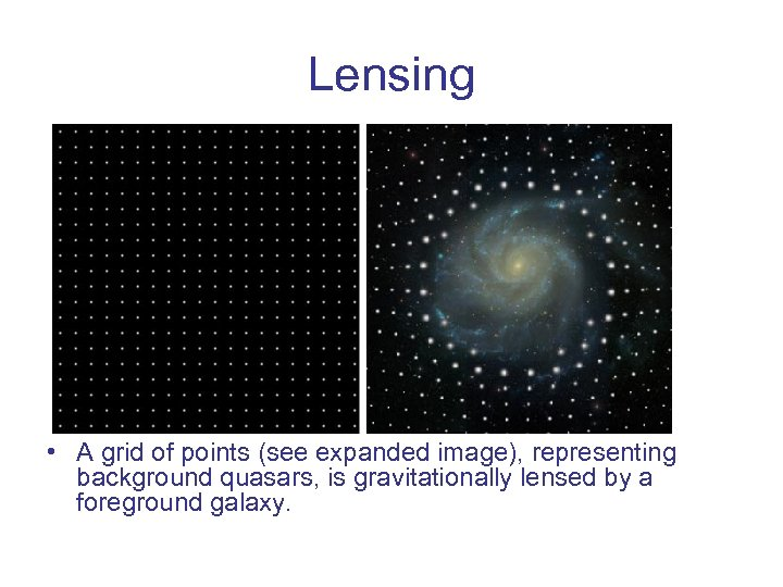 Lensing • A grid of points (see expanded image), representing background quasars, is gravitationally