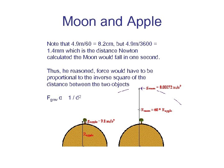 Moon and Apple Note that 4. 9 m/60 = 8. 2 cm, but 4.