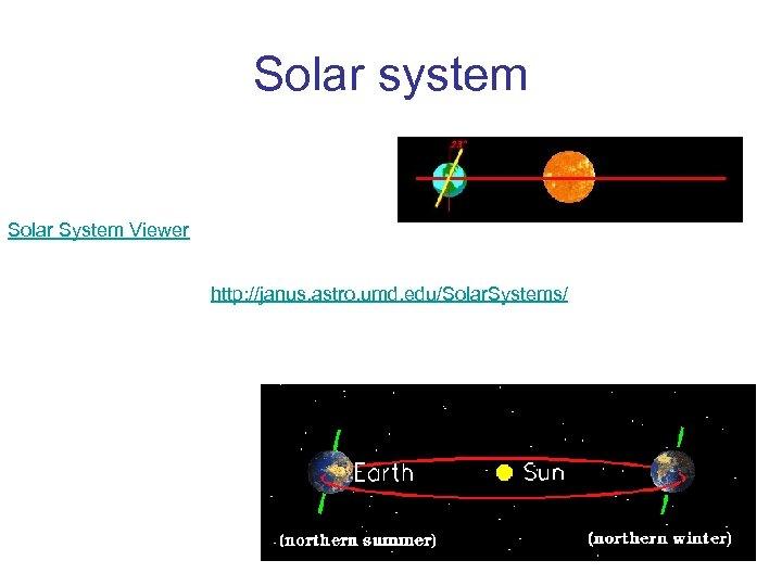 Solar system Solar System Viewer http: //janus. astro. umd. edu/Solar. Systems/