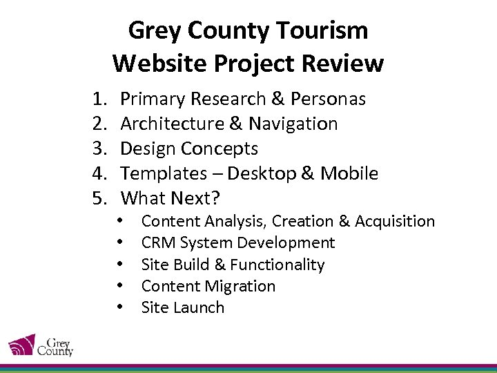Grey County Tourism Website Project Review 1. 2. 3. 4. 5. Primary Research &