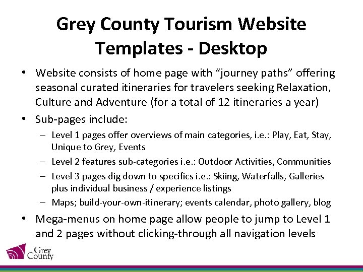 Grey County Tourism Website Templates - Desktop • Website consists of home page with