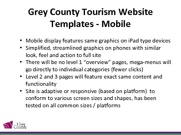 Grey County Tourism Website Templates - Mobile • Mobile display features same graphics on